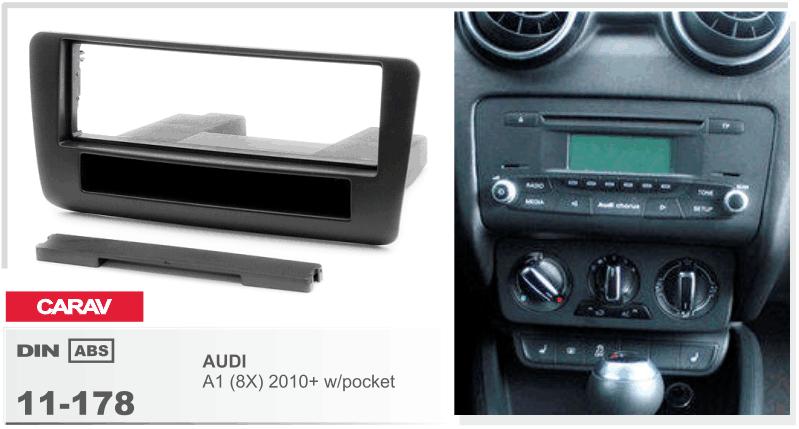 carav 11 178 autoradio radioblende f r audi a1 8x din schwarz ablagefach ebay. Black Bedroom Furniture Sets. Home Design Ideas