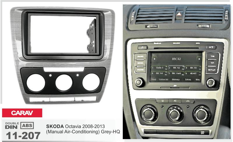 CARAV 11-185-25-7 installation trim dash kit for SKODA Octavia manual A//C 2-DIN