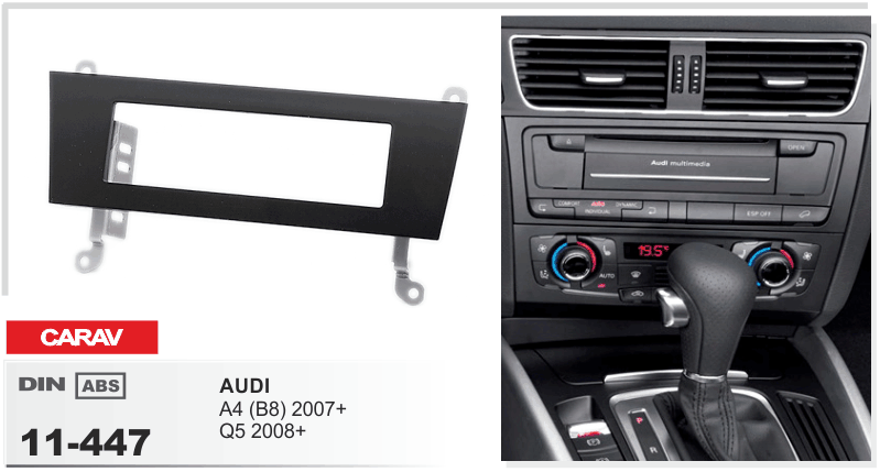 carav 11 447 autoradio radioblende f r audi a4 b8 2007 q5 2008 1 din neu ebay. Black Bedroom Furniture Sets. Home Design Ideas